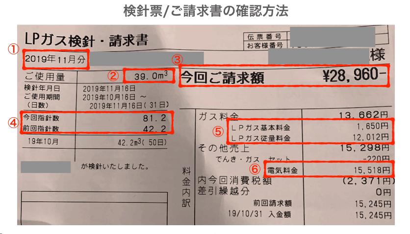 プロパンガス(LPガス)の検針票の見方